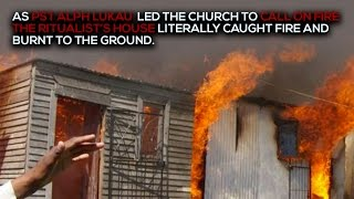 **NEVER SEEN BEFORE** WITCHDOCTOR physically burnt as Pastor ALPH LUKAU called Fire on him