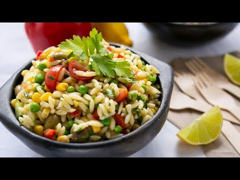 Lemony Orzo Veggie Salad with Chicken