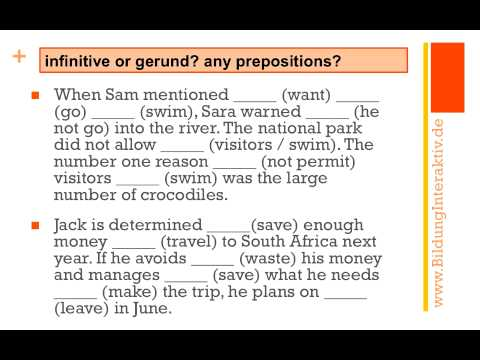 Gerund Or Infinitive Exercises At An Advanced Level Youtube
