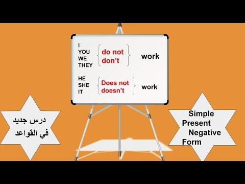Negative form of the simple present    نفي الفعل المضارع