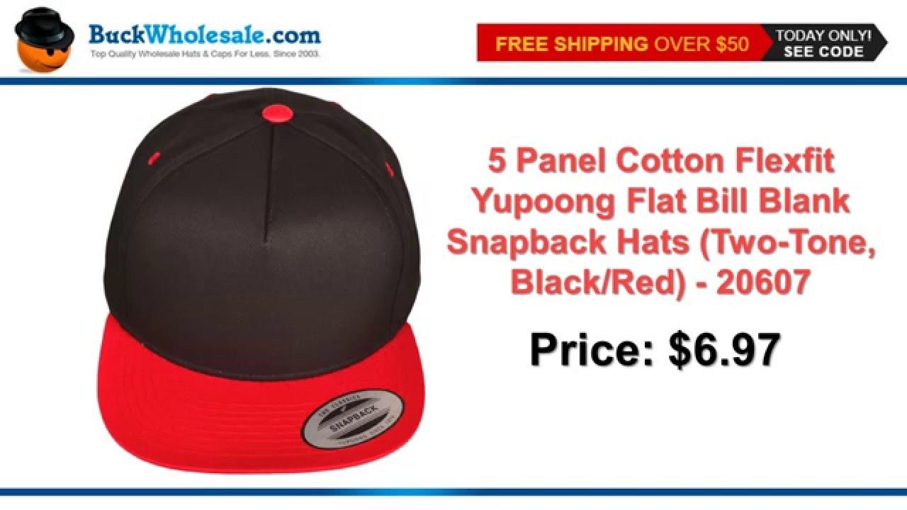 71d61ba648eb5 ... italy 5 panel cotton flexfit yupoong flat bill blank snapback hats two  tone black red youtube