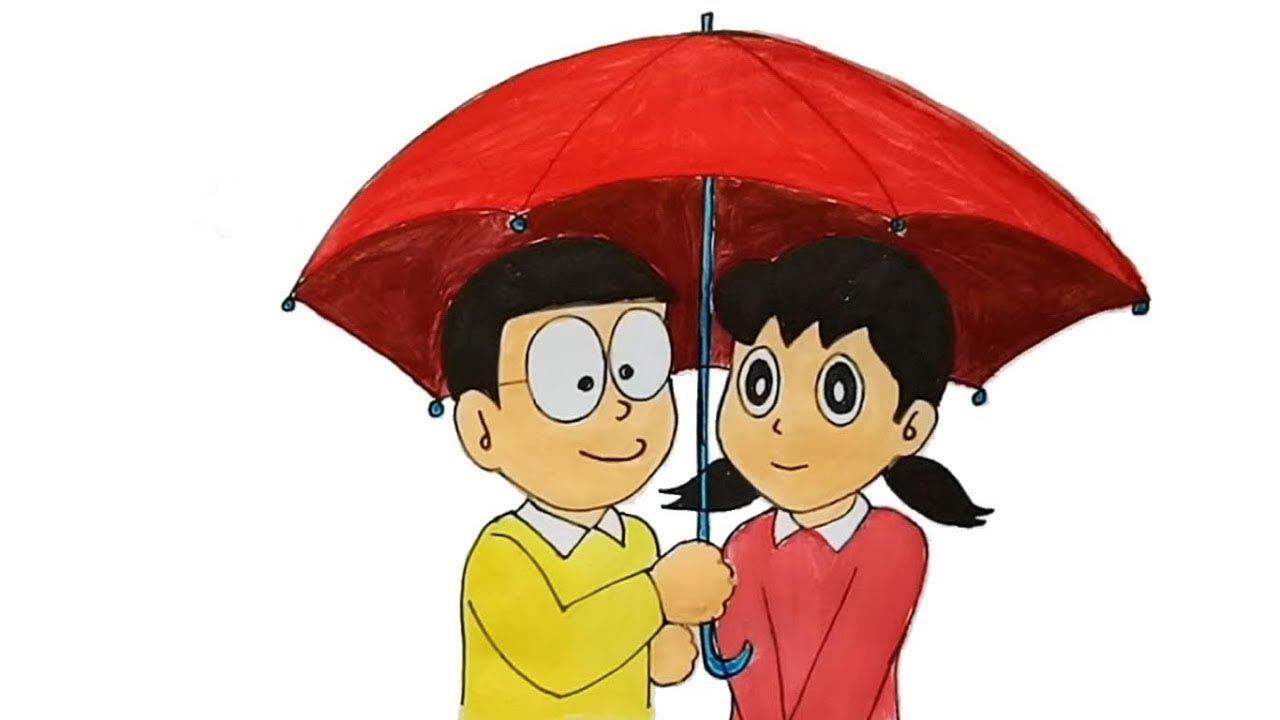 How To Draw Nobita And Shizuka Step By Step Youtube