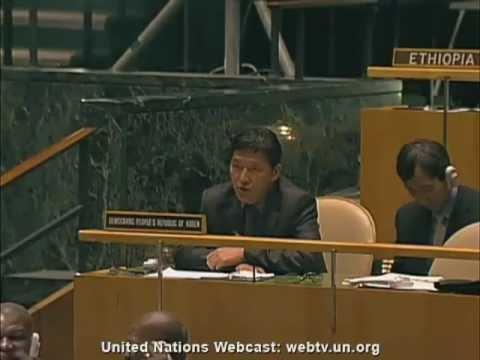 Speech of North Korea in UN defending Syria.