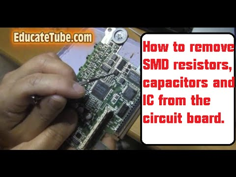 How to remove SMD resistors, capacitors and IC from circuit board for electronic project