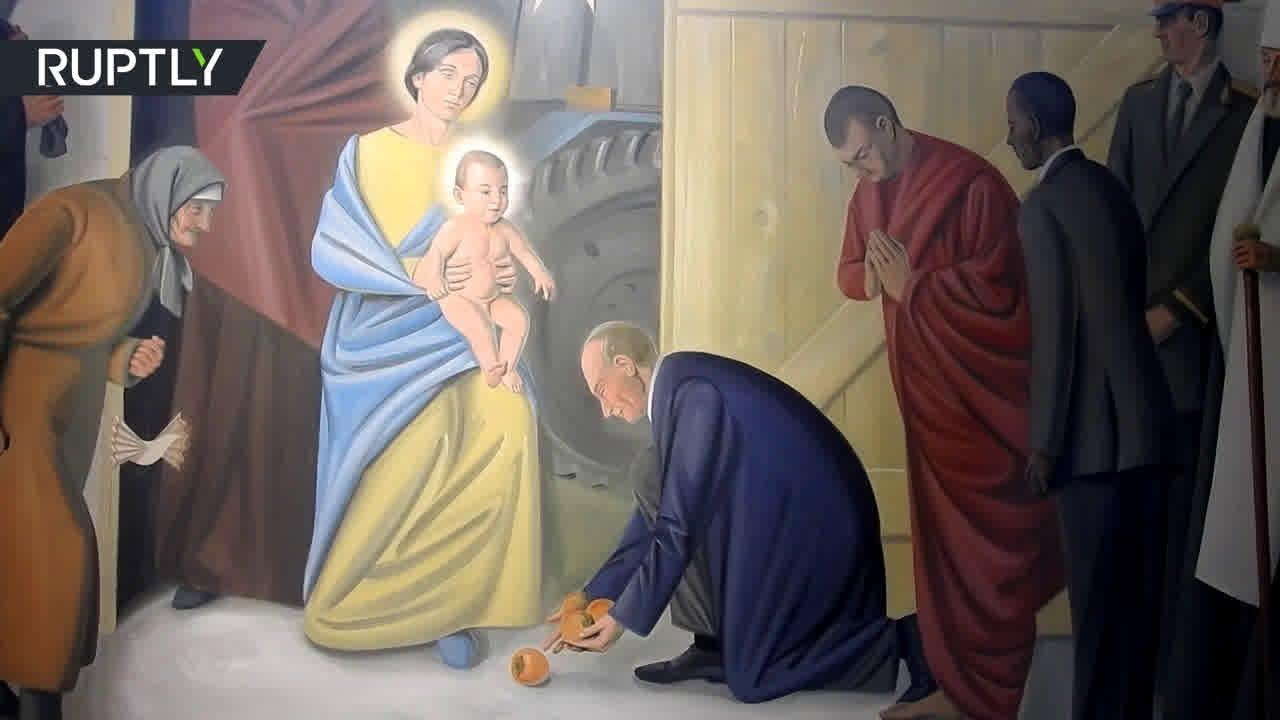 Витебский костёл украсили фресками с Путиным и Обамой