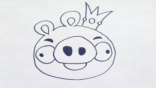 Como dibujar a angry birds - rey cerdo | how to draw angry birds | como desenhar a angry birds