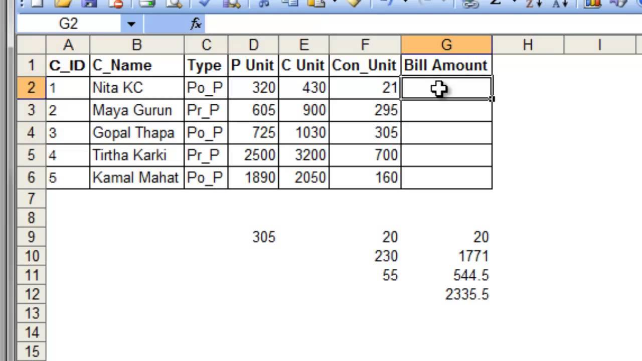 [Nepali] Calculating Electricity Bill in Excel