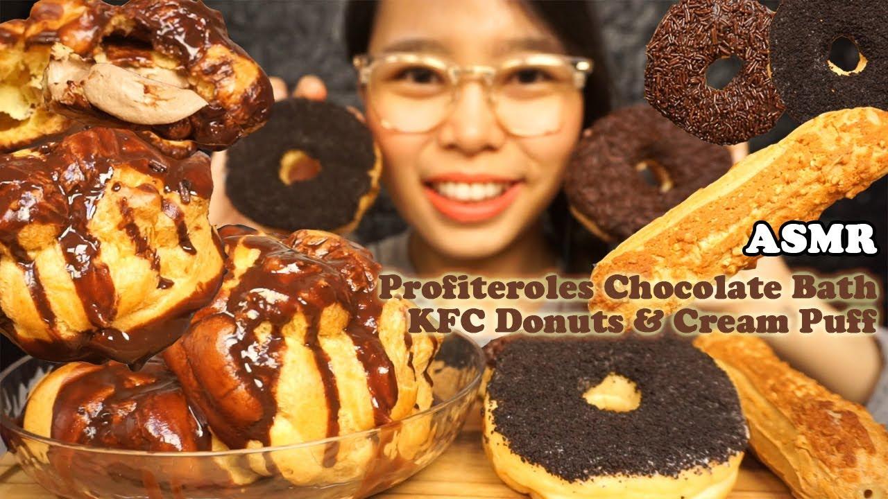 ASMR Kue Soes Jumbo di Kolam Cokelat (JUMBO Profiteroles, KFC DONUTS & Cream Puff) | Eating Sounds