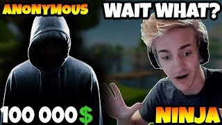 Ninja Gets 100 000$ Donation From Anonymous! (Fortnite Battle Royale)
