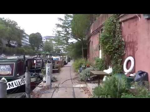 "Walking through the ""secret"" Narrow House Boat Garden, Regents Canal, London."