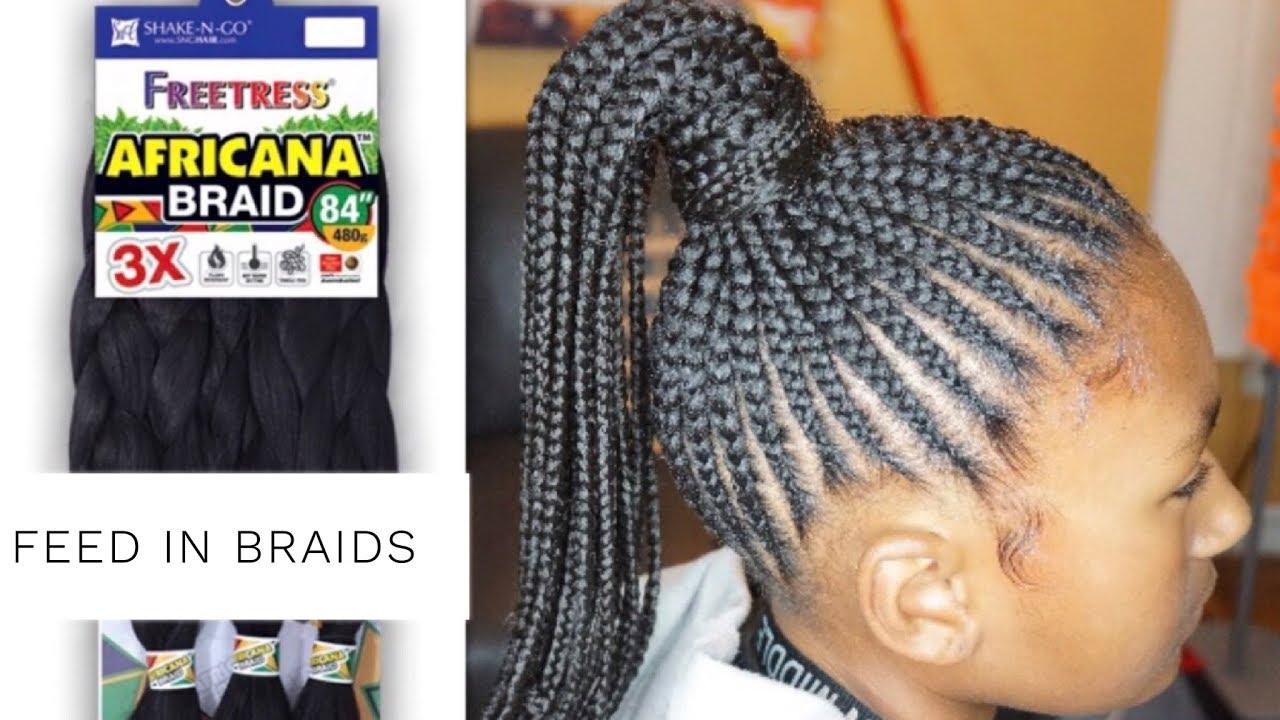 Africana Braid Feed In Ponytail Snghair Youtube