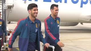 Gales-España: Llegada de la Selección Española a Madrid