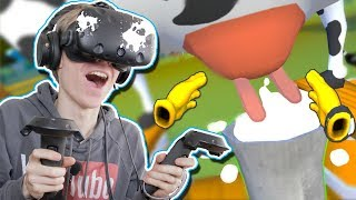 MILK A COW IN VIRTUAL REALITY!  | Cow Milking Simulator VR (HTC Vive Gameplay)