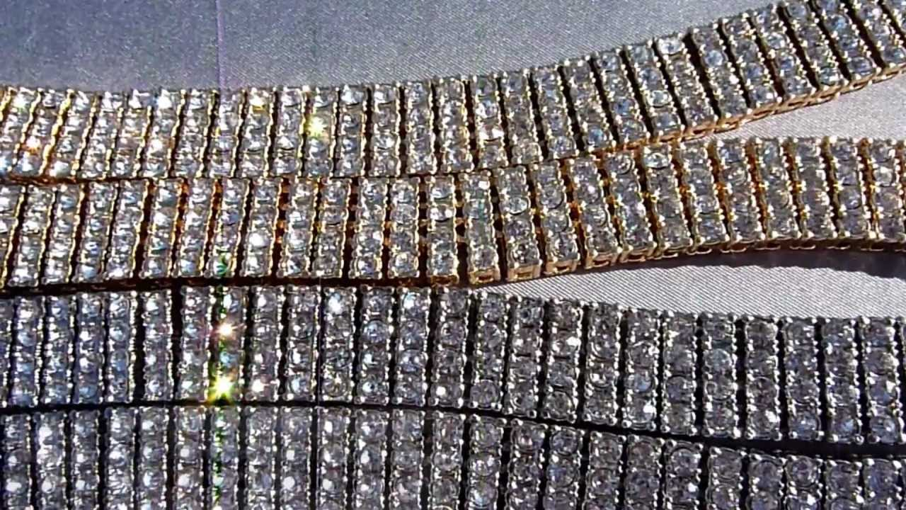 Iced Out CZ Chain Necklace 14k Gold Silver Black 4 Row Simulated Diamond Nivs Bling Hip Hop Jewelry