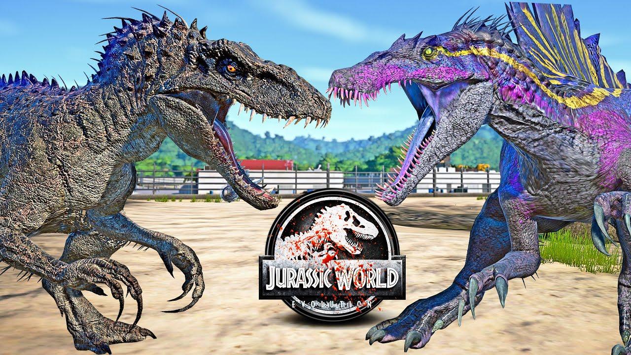 Northfire's Indominus Rex vs Inspinedoraptor Dinosaurs Fight 🌍 JURASSIC WORLD EVOLUTION