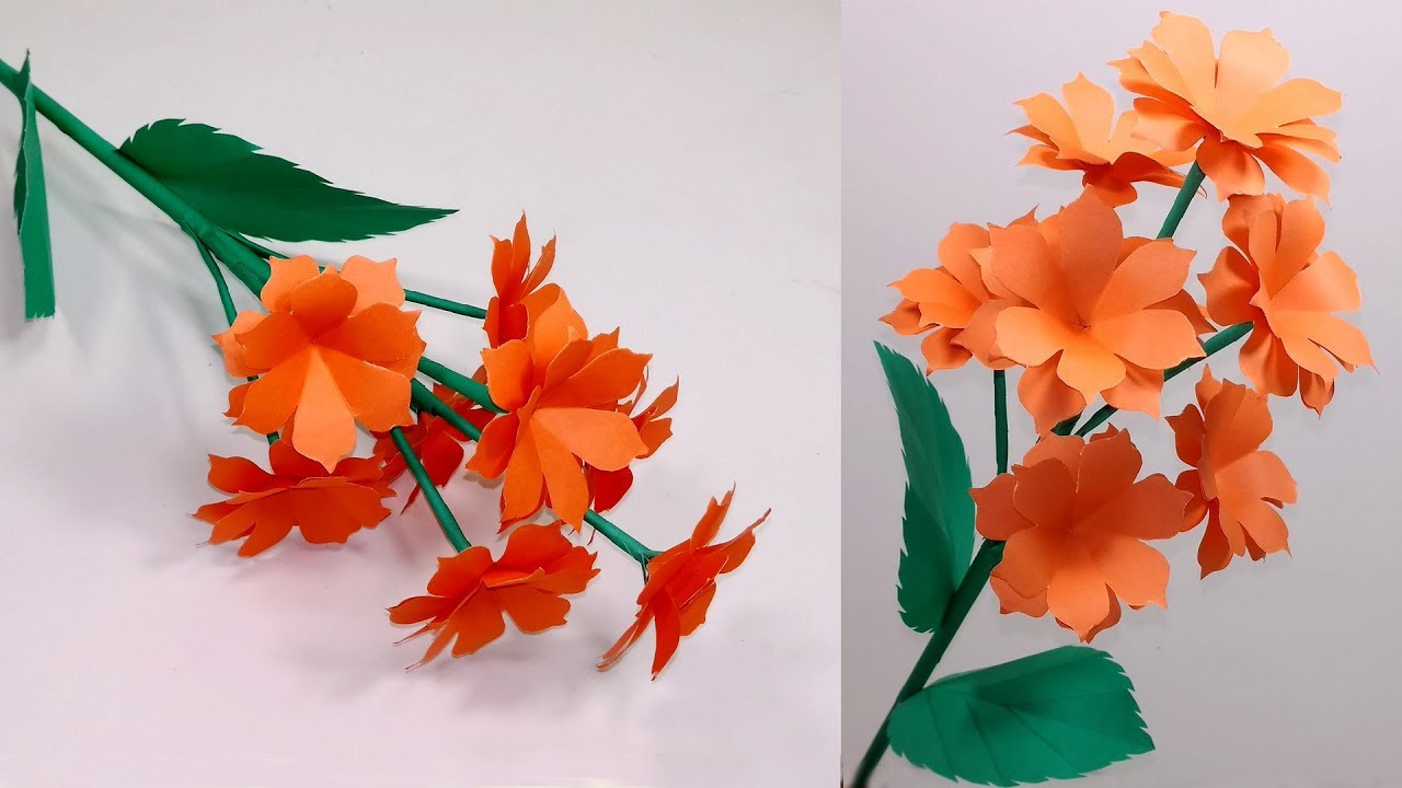 Diy How To Make Beautiful Paper Stick Flower Paper Craft Ideas Stick