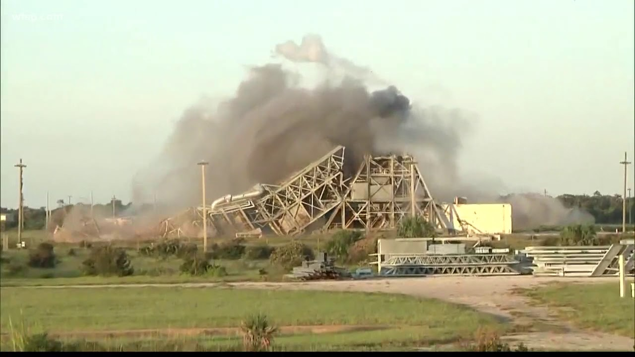 Twin launch towers tumble at Cape Canaveral's historic Launch Complex 17