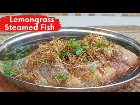 Thai Style Lemongrass Steamed Tilapia Fish Recipe | ปลานึ่งตระไคร้ทอด