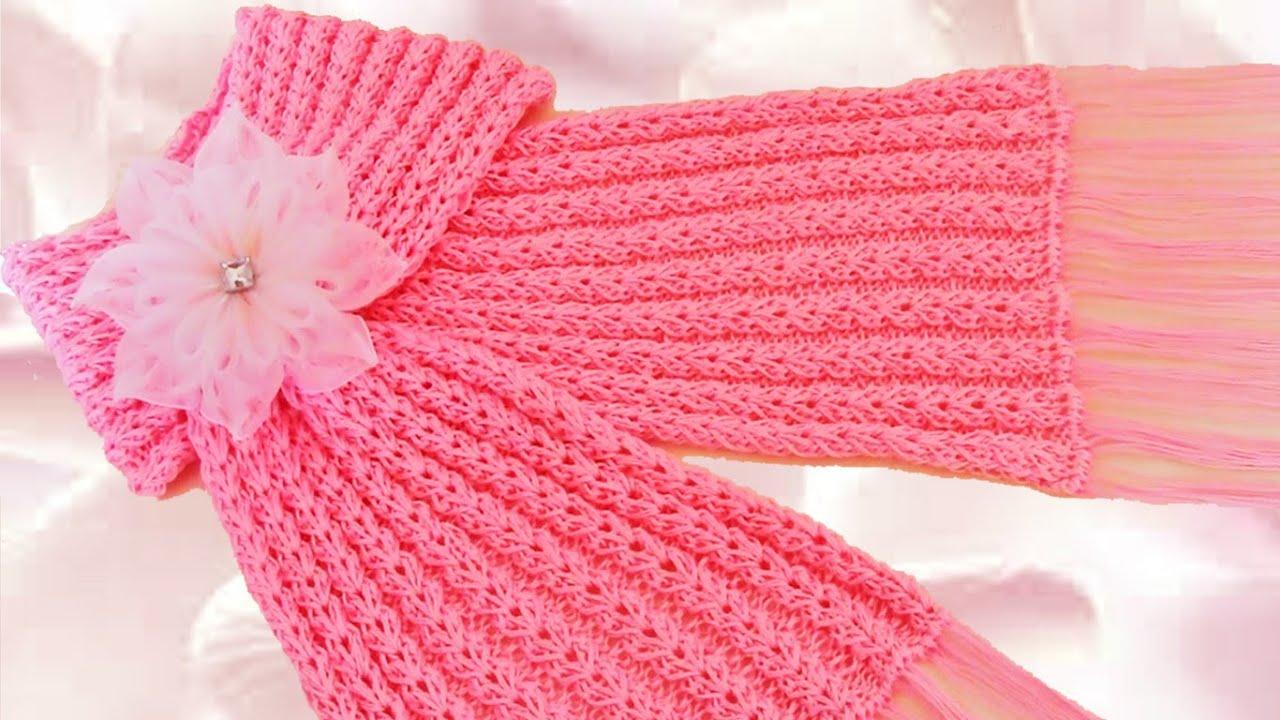 😍 Como tejer una bufanda fácil y rápido en punto primavera - How to ...