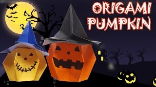 Origami Pumpkin with Hat - Origami Halloween
