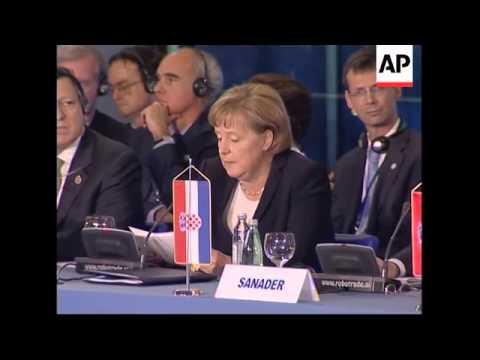 Balkan leaders, EU hold summit.; family photo, Burns intv.