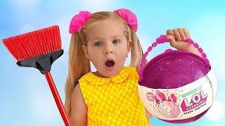 تنظف ديانا المنزل وتجد لول مفاجأة بالدمى