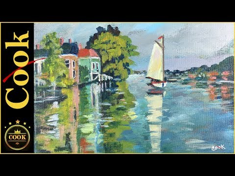 How to Paint Monet&39;s Houses on the River with Acrylic Paints for Beginners Using 3 Colors Plus White