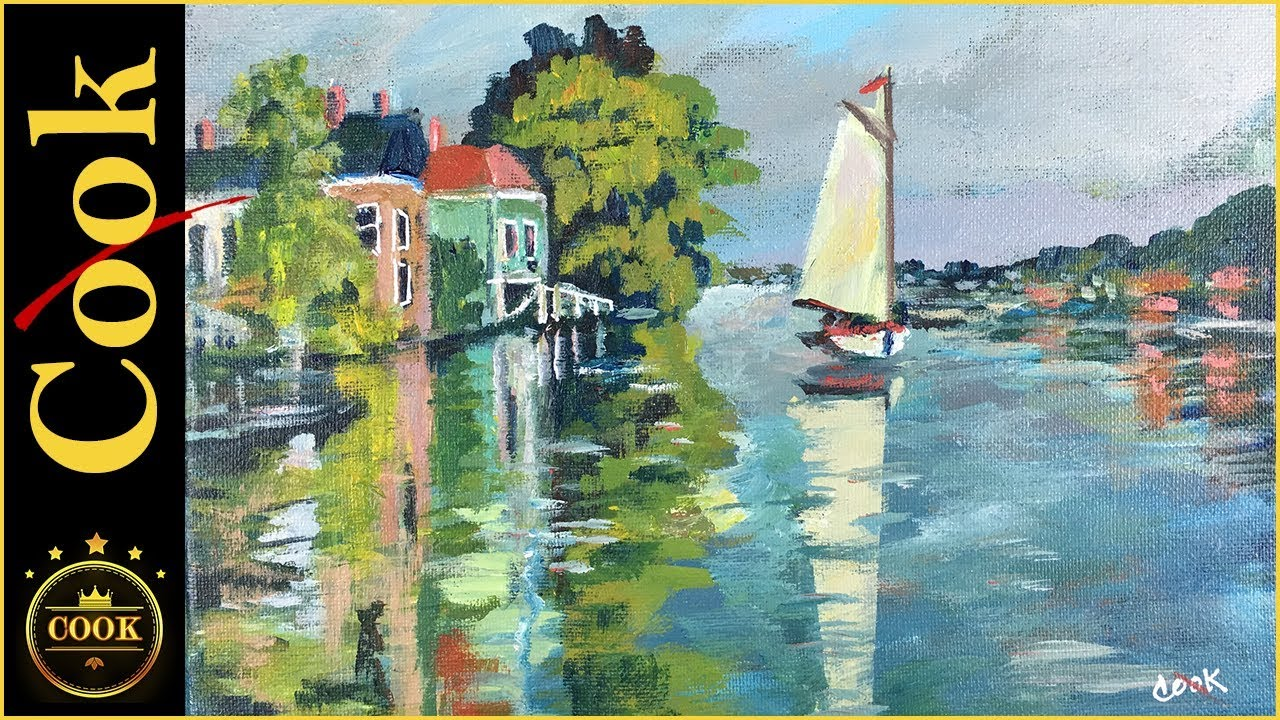 How To Paint Monet S Houses On The River With Acrylic