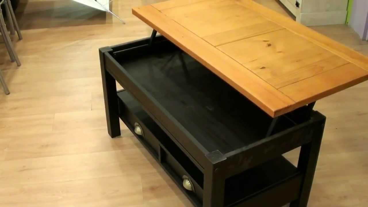Mesa centro elevable madera maciza r stico negro 3858b for Mesa de centro madera maciza