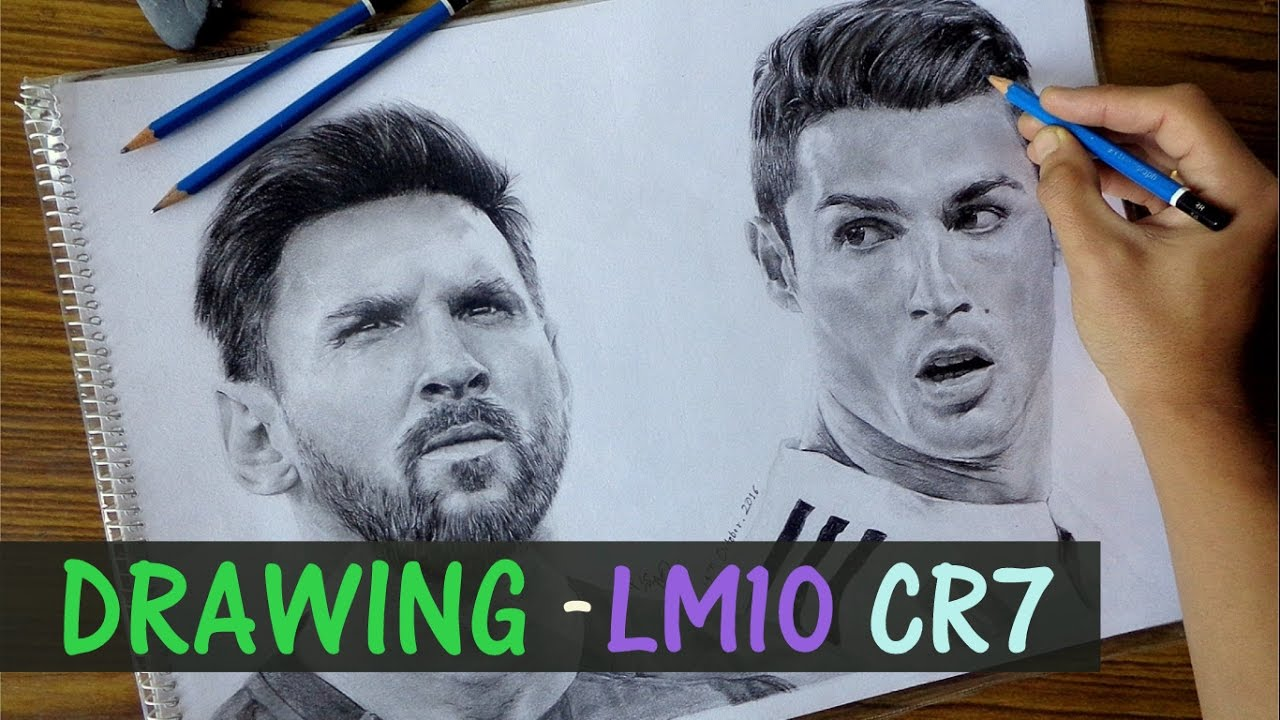 Messi ronaldo drawing by rahzunart