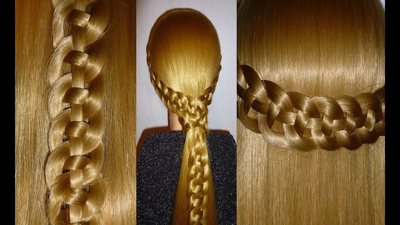 Коса из 4 прядей.Причёска для средних и длинных волос. Причёски на каждый день:в школу, на работу