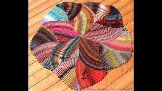 Красивый коврик спицами МК Вяжем  клин 1