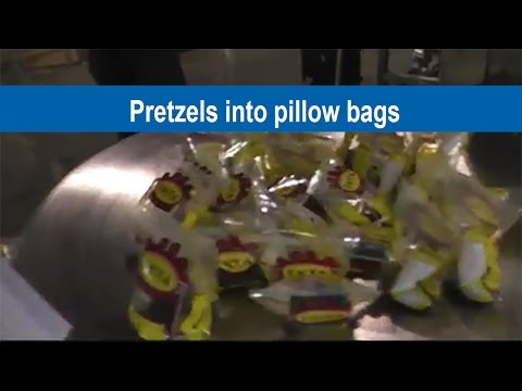 Pretzel into Pillow Bags using Combination Scale , VFFX and Conveyor