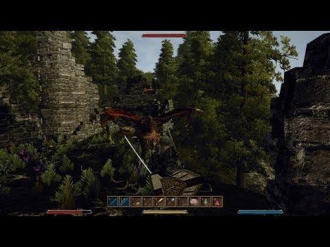 Gothic3 часть 61 доспехи охотника на драконов на сложном уровне АИ+АБ воином-лучником