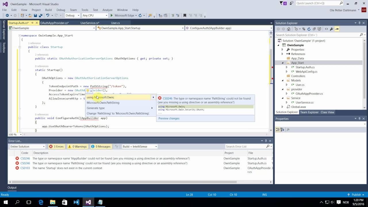 Implement OAuth 2 0 Authorization, ASP NET web API