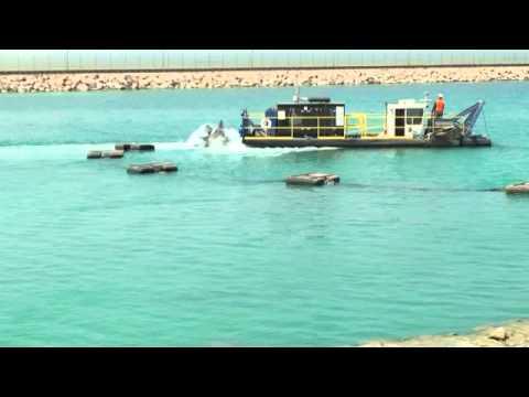 Sea Water Intake Lagoon.  Versi-Dredge®  uses its Starwheel Drive self-propulsion system.