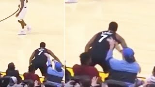 Kyle Lowry Shoved By Cavaliers Fan After Trying To Save The Ball! Raptors vs Cavaliers