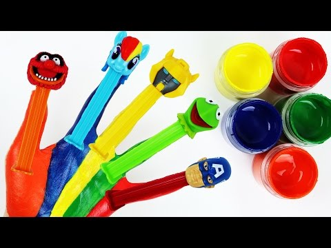 Learn Colors Nursery Rhymes Finger Family Hand Body Paint Pez Candy Disney Muppet My Little Pony