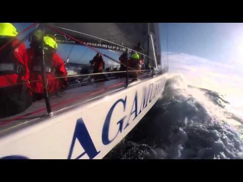 Ragamuffin 100 hitting 38 knots in 2014 Sydney Hobart Race