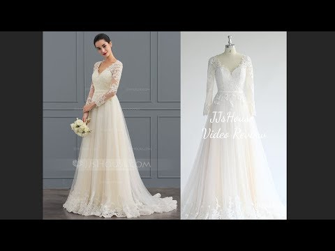 sweep-train-v-neck-wedding-dress-lace---jj's-house