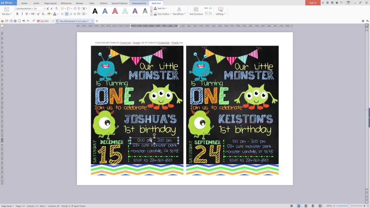 Create A Little Monster Birthday Invitation Youtube