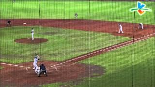 20140608-3 爆米花 台電vs國訓  3下 郭阜林中間方向安打 送一壘的克萊德到了三壘