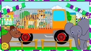 Грузовики и животные в зоопарке. Развивающие мультфильмы для детей.