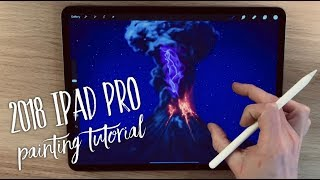 Download 2018 iPad Pro and Apple Pencil 2 painting tutorial - Volcanic Lightning Mp3 and Videos