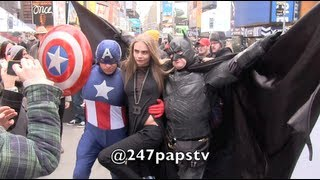 Cara Delevingne All over TimeSquare for a Photo Shoot with DKNY in NYC (03-21-13)