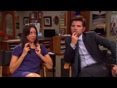 Q&A with Parks and Recreation's Aubrey Plaza and Adam Scott