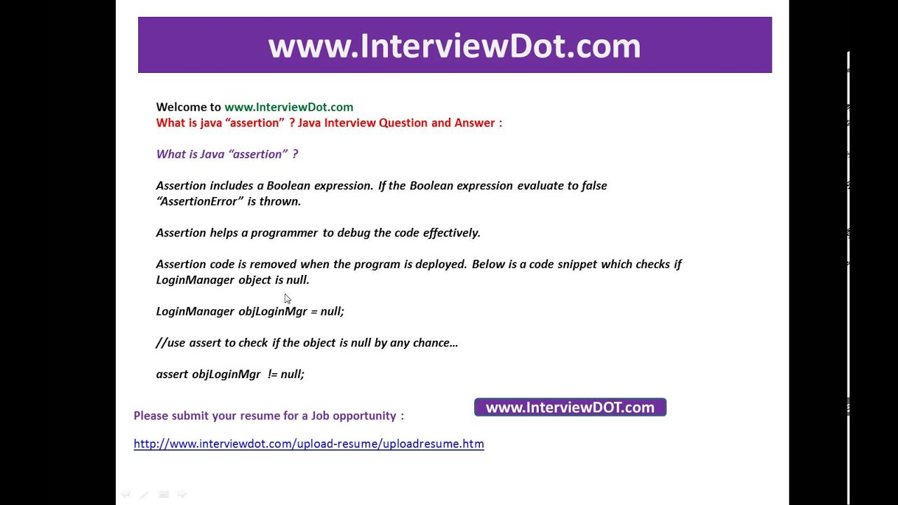 what is java assertion job java inteview question and answer