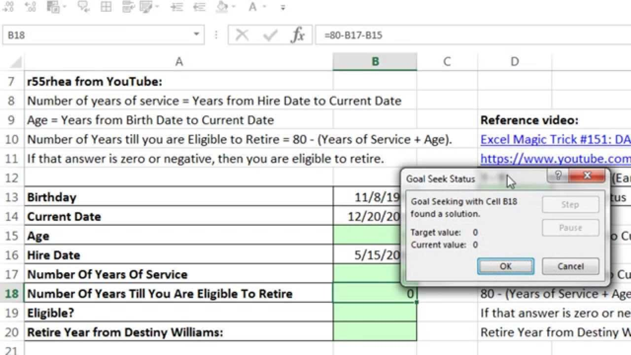 excel magic trick 1148 calculate retirement year based on 80 rule