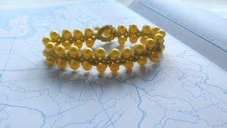 Браслет цепочка с бусинами в технике макраме. Bracelet chain with beads macrame tutorial.