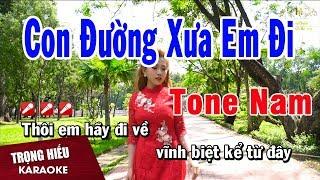 Karaoke Con Đường Xưa Em Đi Tone Nam Nhạc Sống | Trọng Hiếu